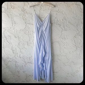 Cotton Candy Striped High Low Ruffled Maxi Dress